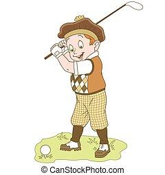 golfe jogando, caricatura, menino