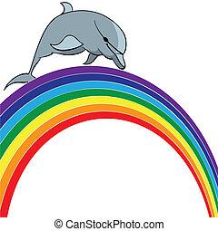 golfinho, arco íris