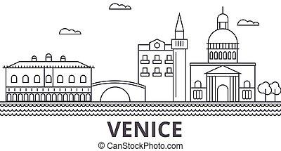 golpes, cityscape, veneza, vistas, paisagem, vetorial, marcos, illustration., famosos, desenho, wtih, linha, arquitetura, skyline, cidade, linear, editable, icons.