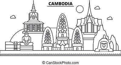 golpes, cityscape, vistas, paisagem, vetorial, marcos, illustration., cambodia, famosos, desenho, wtih, linha, arquitetura, skyline, cidade, linear, editable, icons.