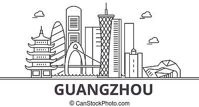 golpes, cityscape, vistas, paisagem, vetorial, marcos, illustration., famosos, desenho, guangzhou, wtih, linha, arquitetura, skyline, cidade, linear, editable, icons.