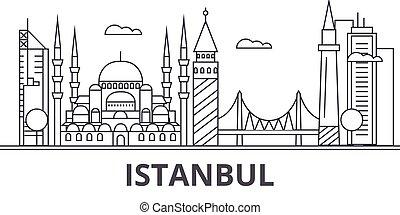 golpes, cityscape, vistas, paisagem, vetorial, marcos, illustration., famosos, desenho, istambul, wtih, linha, arquitetura, skyline, cidade, linear, editable, icons.