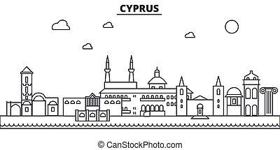 golpes, cityscape, vistas, paisagem, vetorial, marcos, illustration., famosos, desenho, wtih, chipre, linha, arquitetura, skyline, cidade, linear, editable, icons.