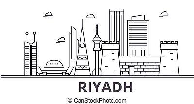 golpes, cityscape, vistas, paisagem, vetorial, marcos, illustration., famosos, desenho, wtih, linha, arquitetura, skyline, cidade, linear, riyadh, editable, icons.