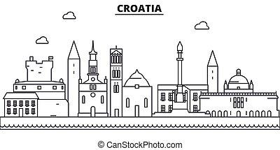 golpes, cityscape, vistas, paisagem, vetorial, marcos, illustration., famosos, desenho, wtih, linha, arquitetura, skyline, cidade, linear, editable, croácia, icons.