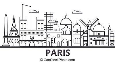 golpes, cityscape, vistas, paisagem, vetorial, marcos, illustration., famosos, desenho, wtih, linha, arquitetura, skyline, cidade, linear, paris, editable, icons.