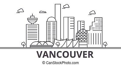 golpes, cityscape, vistas, paisagem, vetorial, marcos, illustration., famosos, desenho, wtih, linha, arquitetura, skyline, cidade, linear, editable, vancouver, icons.