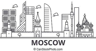 golpes, cityscape, vistas, paisagem, vetorial, marcos, illustration., moscou, desenho, famosos, wtih, linha, arquitetura, skyline, cidade, linear, editable, icons.