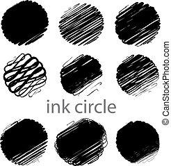 golpes, grunge, (individual, escova, jogo, vetorial, círculo, objects).
