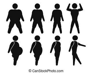 gorda, ajustar, homem