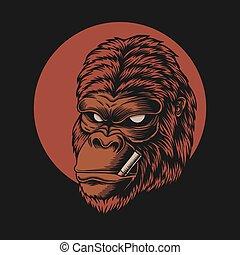 gorila, ilustração, vetorial, cabeça, fumaça