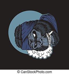 gorila, vetorial, fumaça, ilustração