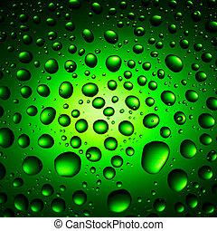 gotas água, experiência verde
