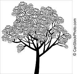 gráfico, árvore, jovem, vetorial, florescendo, desenho