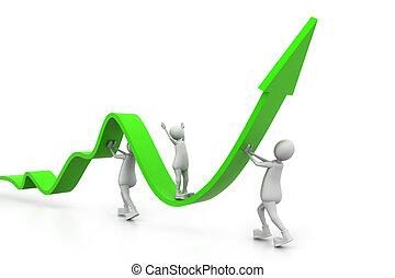 gráfico, crescendo, comércio pessoas