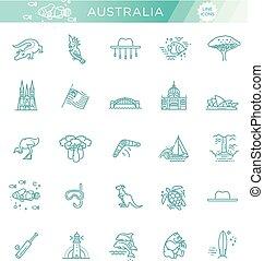 gráfico, cultura, traditions., set., animais, emblema, sinal, vetorial, australiano, elemento, símbolo