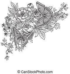 gráfico, dois, ilustração, mão, borboletas, vetorial, pe, desenhado