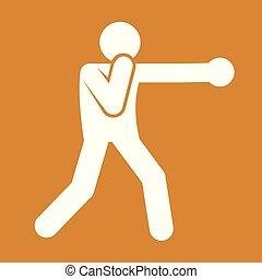 gráfico, esboço, figura, símbolo, boxe, soco, ilustração, vetorial, desporto