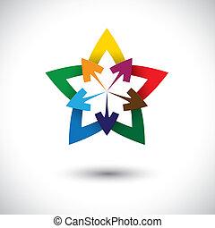 gráfico, estrela, coloridos, &, abstratos, symbol-, vetorial, seta, ou, ícone