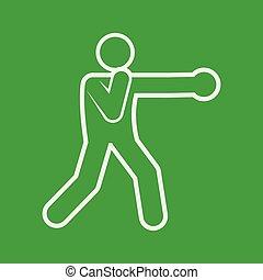 gráfico, figura, símbolo, boxe, soco, ilustração, vetorial, desporto