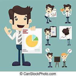 gráfico, jogo, apresentação, caráteres, homem negócios
