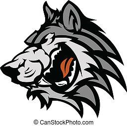 gráfico, lobo, mascote