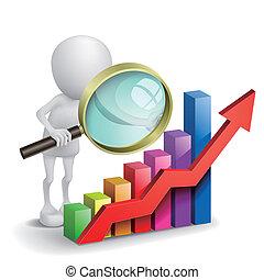 gráfico, magnifier, financeiro, 3d, pessoa