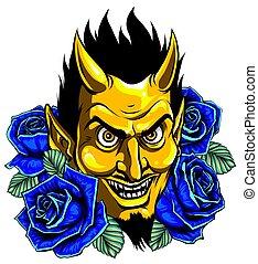 gráfico, mascote, ou, imagem, demônio, diabo, cabeça, vetorial