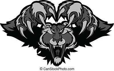 gráfico, pantera, ilustração, pretas, mascote, pouncing