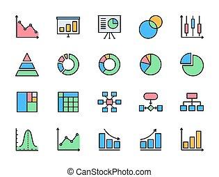 gráfico torta, apartamento, mapa, jogo, more., apresentação, cor, icons., mapa