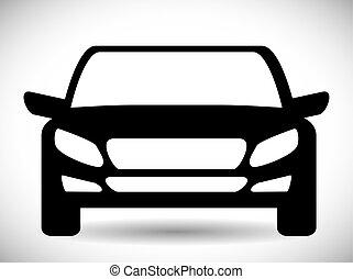 gráfico, transporte, car, vetorial, pretas, icon., design.
