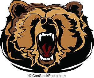 gra, urso pardo, cabeça, vetorial, mascote