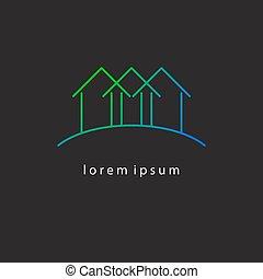 gradiente, casas, linha, magra