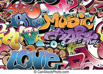 graffiti urbano, seamless, fundo