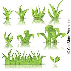grama gramado, jogo, folhas