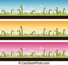 grama gramado, jogo, paisagem