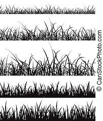 grama gramado, silueta, jogo