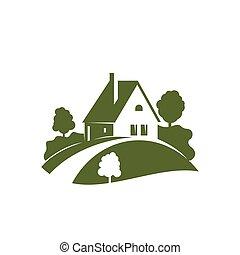 gramado, jardim, planta casa, árvore, verde, ícone