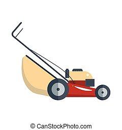 gramado, jardinagem, grass-cutter, ferramenta, isolado, mower, máquina, equipamento, vetorial, groundworks-, branca, ícone, tecnologia, fundo, estoque