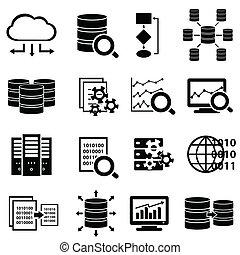 grande, ícones, tecnologia, dados