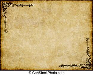 grande, antigas, textura, papel, desenho, fundo, ornate, pergaminho