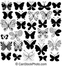 grande, borboletas, pretas, cobrança