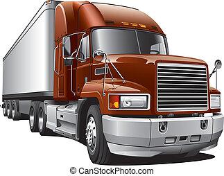 grande, caminhão entrega