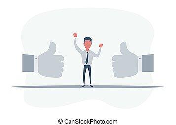 grande, cima, experiência., mãos, gostar, feliz, realimentação, sobre, cima., quadro, engraçado, concept., polegares, dois, positivo, homem negócios