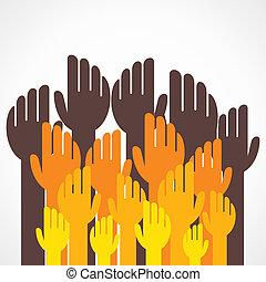 grande, feliz, grupo, mão