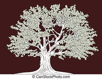 grande, gráfico, vetorial, árvore, desenho