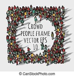 grande, grupo, frame., torcida, pessoas