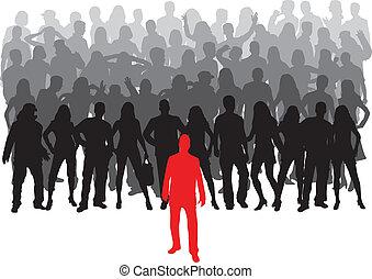 grande, -, grupo, líder, pessoas