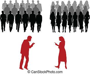 grande, homens, mulheres, grupo, pessoas