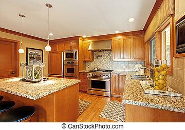 grande, ilha, sala, cozinha
